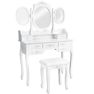 Tocador Mesa Maquillaje 3 Espejos Cómoda 7 Cajones Taburete Dormitorio Blanco