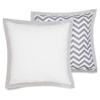 "JILL ROSENWALD European Pillow Shams BUCKLEY Reversible, Gray White, 26"", NEW x2"