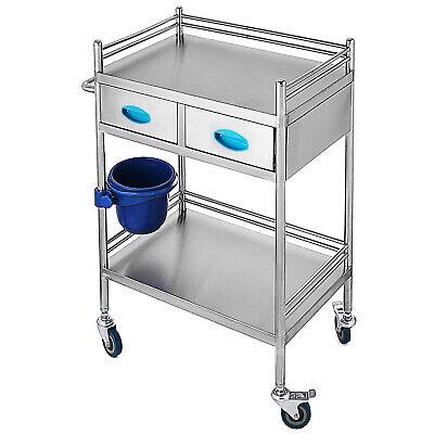 Medical Trolley Cart 2 Drawer Portable Dental Lab Trolley Salon Stainless Steel