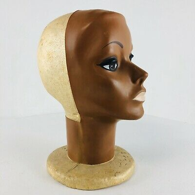 Vintage Female Mannequin Head Form Styrofoam Stand For Wig Or Hat