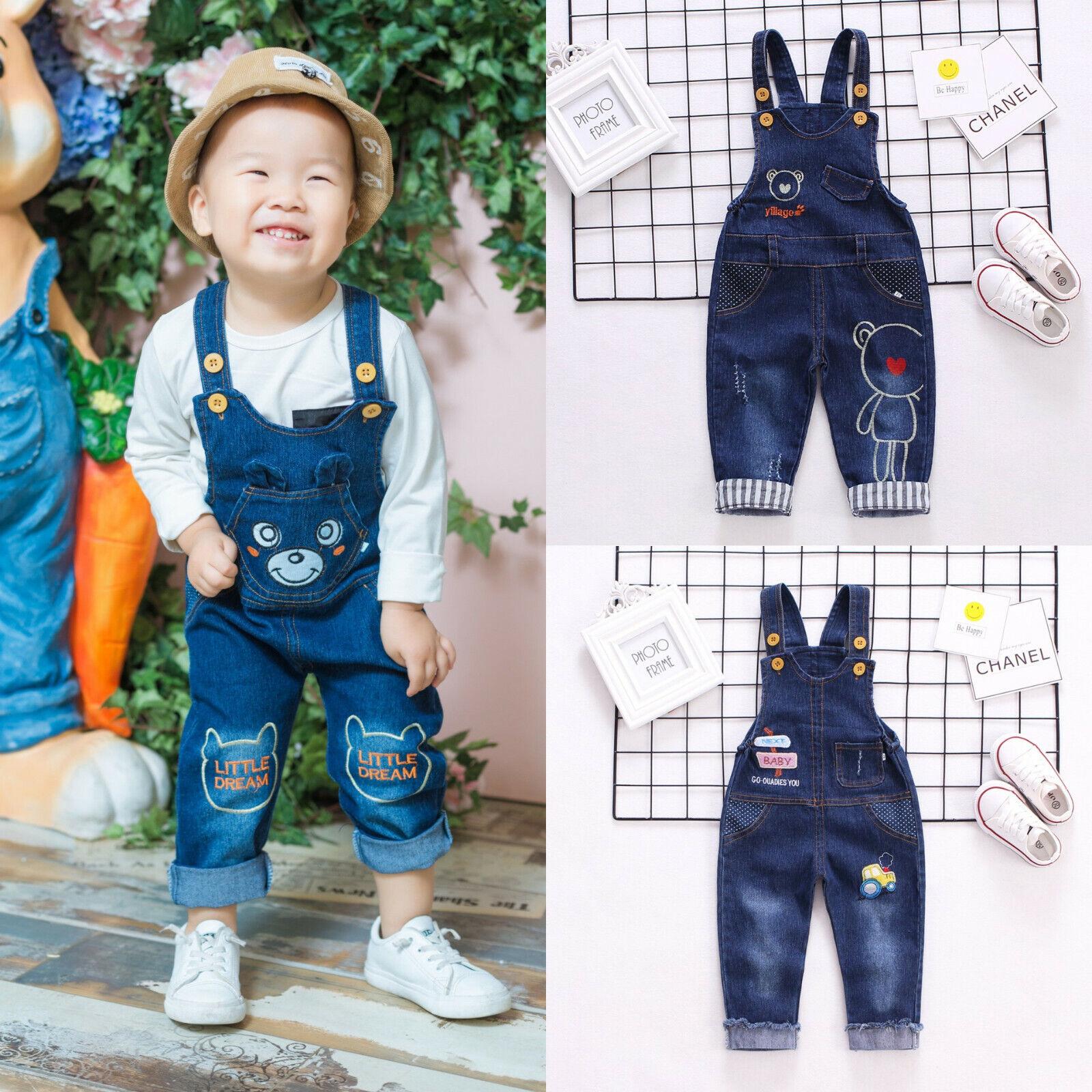 Baby Boys Overalls Denim Pants Cartoon Jeans Kids Girls Jumpsuit Cute Trousers