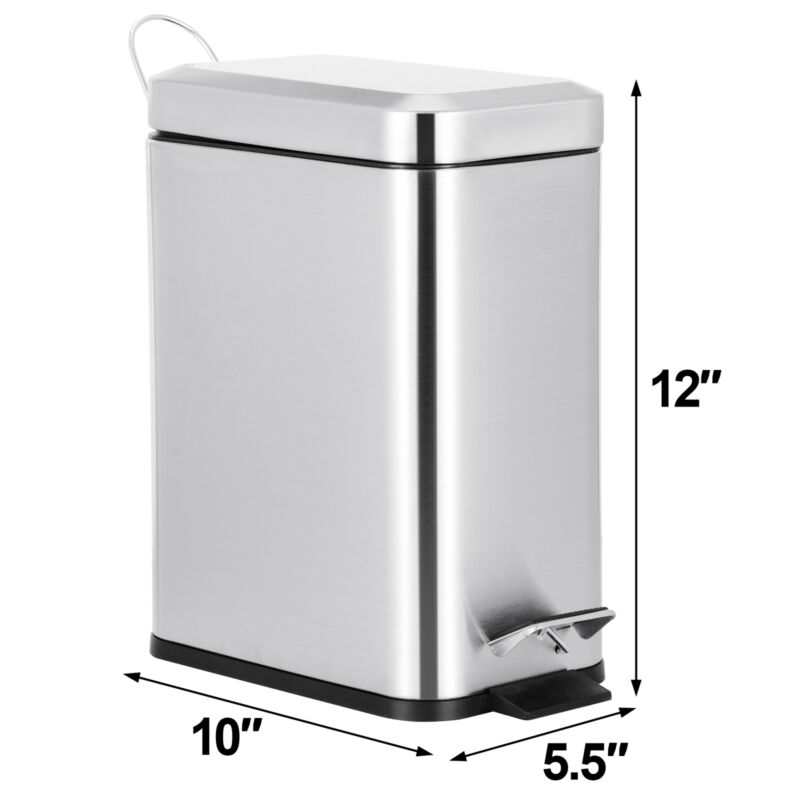 Garbage Container Bin Trash Can for Bathroom Powder Room Bedroom 1.3 Gallon