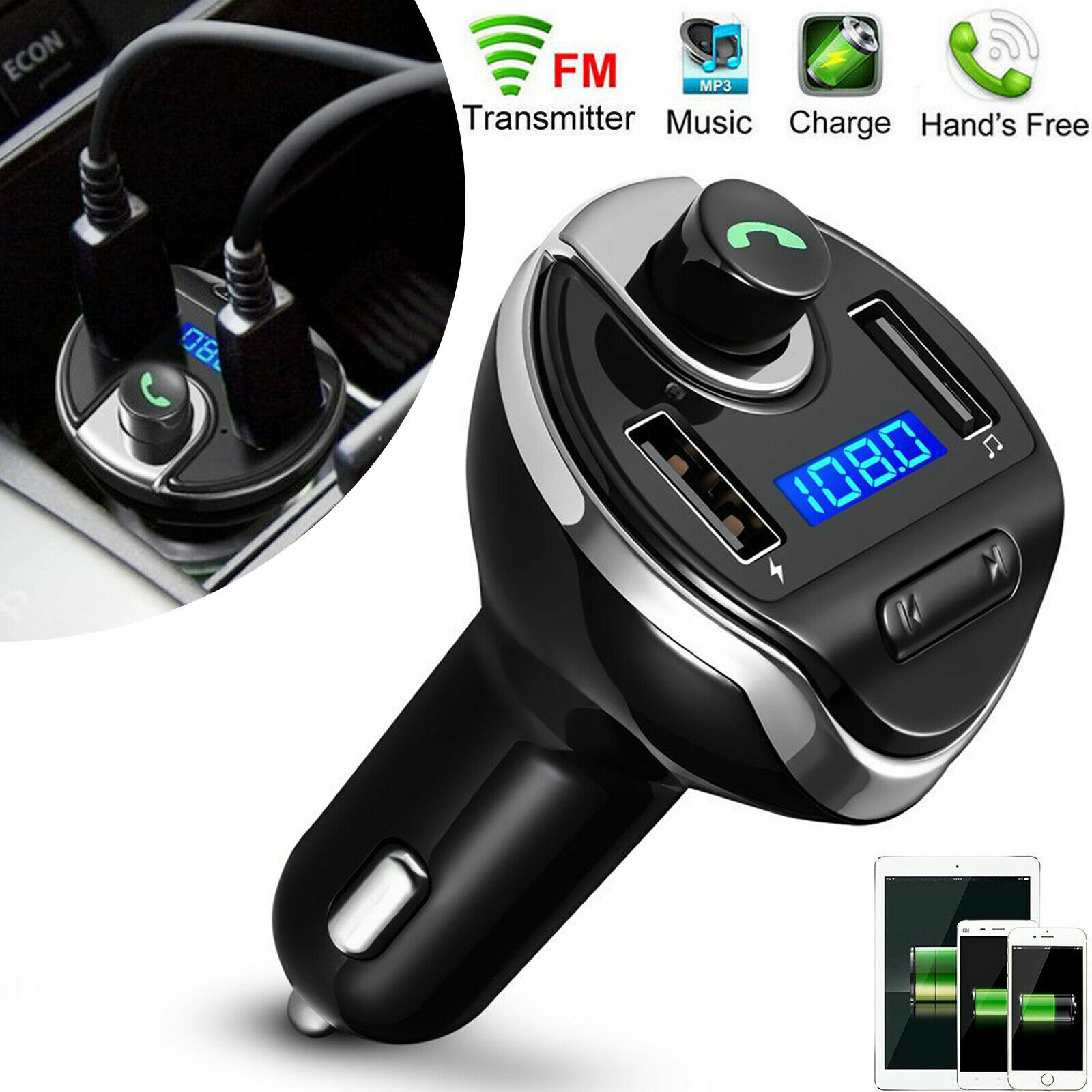 Wireless In-Car Bluetooth FM Transmitter MP3 Radio Adapter Car Fast USB Charger Consumer Electronics