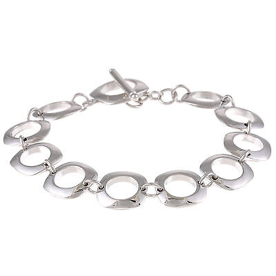 Sterling Silver 925 Polished Open Circle Square Link Toggle Women Bracelet 7.25""