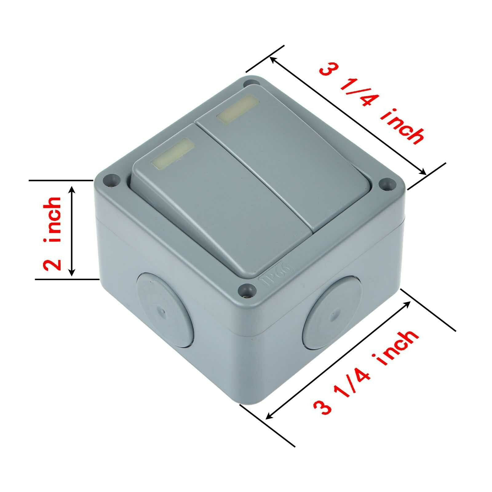 3 Pack Waterproof Weatherproof Outside Switch Ip66 10a 2