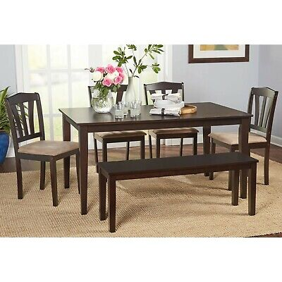 Large Kitchen Table Dinner 6 Piece Dining Set w Bench & Upholstered Chair Seats