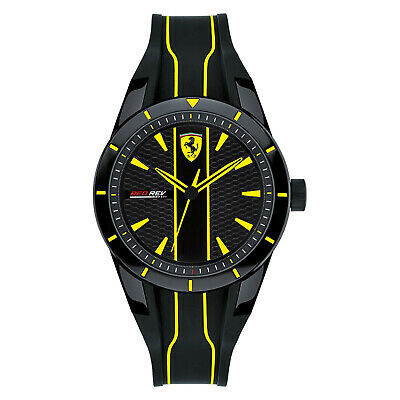 Scuderia Ferrari 'Red Rev' Unisex Watch, Black Yellow Dial, Silicone Band, 38mm