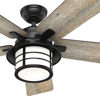 Hunter Fan 54 inch Casual Matte Black Ceiling Fan with Light Kit & Remote Black Fan Light