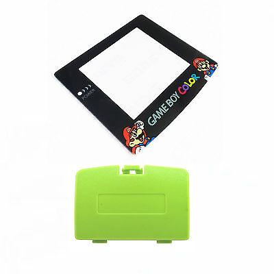 (New KIWI GREEN Game Boy Color Battery Cover + Mario & Luigi Screen GBC)