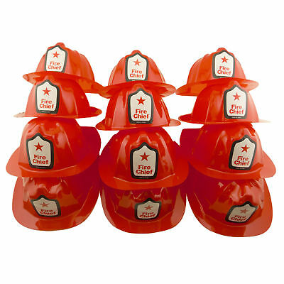 Red Firefighter Plastic Hats Kids Play Fireman Chief Party Favors LOT