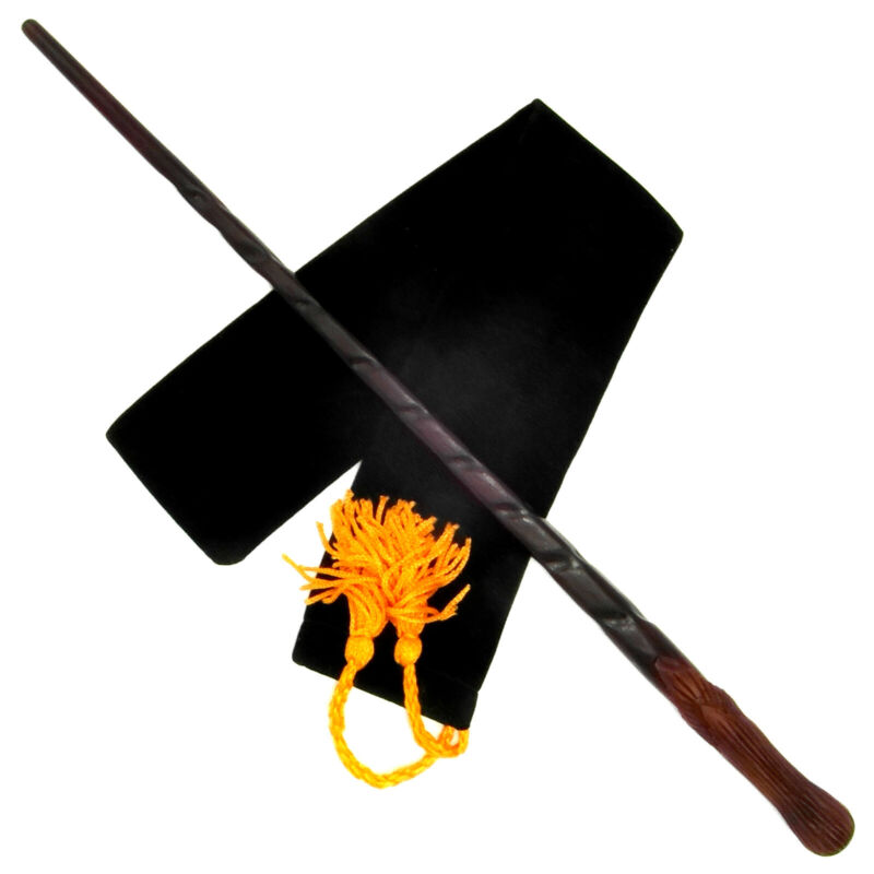 """15"""" Weasley Hand Carved Mahogany Wood Magic Wand Wizard Witch w/ Free Velvet Bag"""