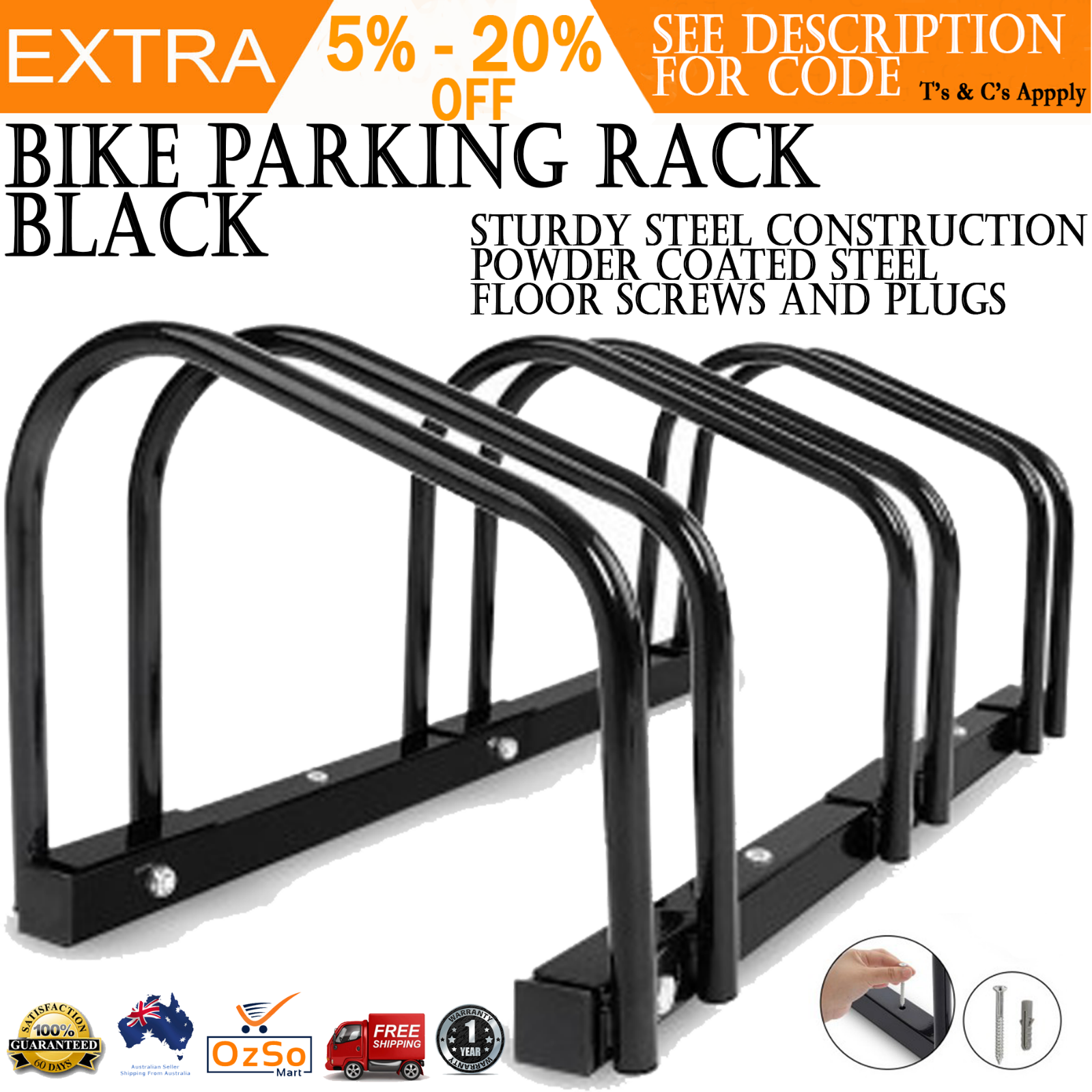 Bikehand 1-3 Bike Bicycle Floor Parking Rack Storage Stand