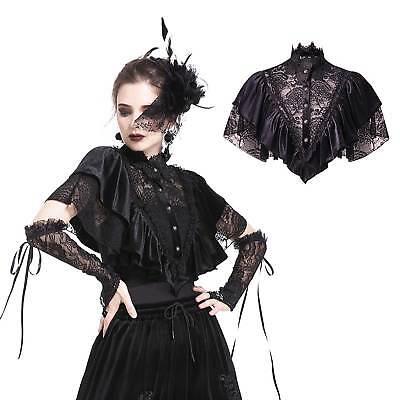 DARK IN LOVE Gothic Spitzen-Cape Samt Rüschen Viktorianisch Black Velvet Ruffles