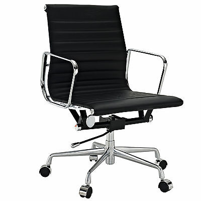 Eames Office Chair Ribbed Mid Low Back Aluminum Group Reproduction Leather Black