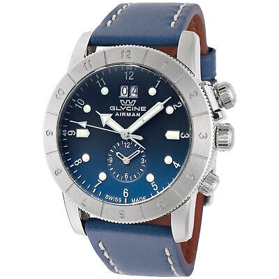 Glycine Men's GL0151 Airman 42 GMT 42mm Quartz Blue Dial Blue Leather Watch Gmt Quartz Watch