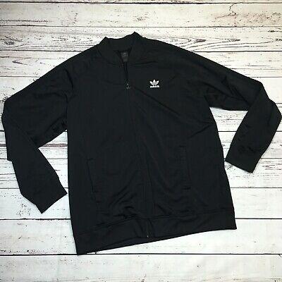 Adidas Mens Full Zip Jacket Trefoil 3 Stripes Black Leisure Athletic XL