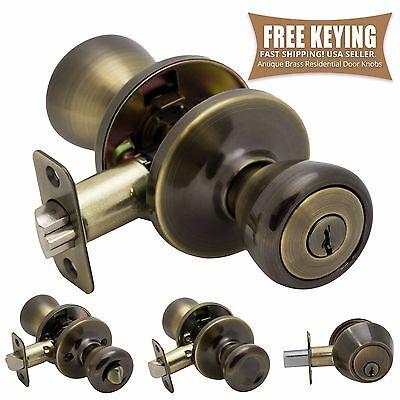 Classic Brass Door Hardware - Pro-Grade Classic Door Knob Handle Entry Deadbolt Home Hardware, Antique Brass