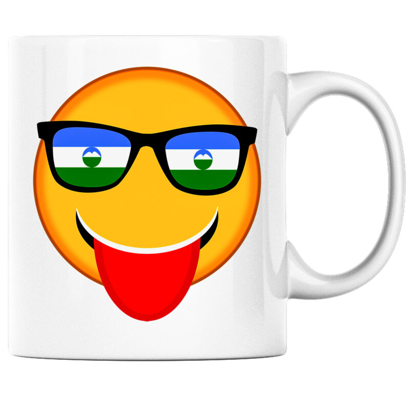 Smiling Sunglasses Emoji with Kabardino Balkaria Flag Pride Heritage Coffee Mug