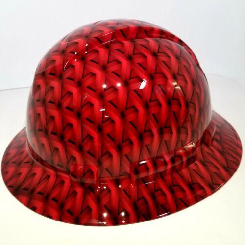 FULL BRIM Hard Hat custom hydro dipped, NEW RED GEO ACID TRIP RATCHET SUSPENSION 3