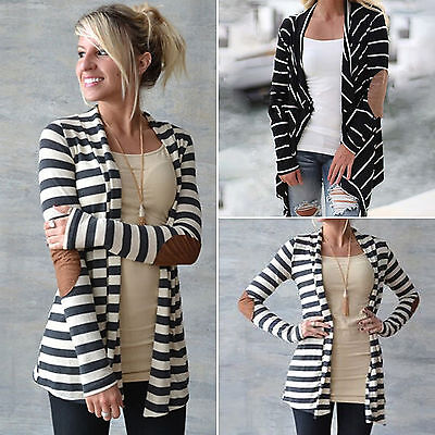 Cotton Cardigan Jacket - Women Striped Long Cardigan Coat Long Sleeve Knitted Loose Sweater Jacket Cover