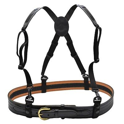 Nylon Police Duty Belt Suspenders Tactical Black Harness First Response Usa Made