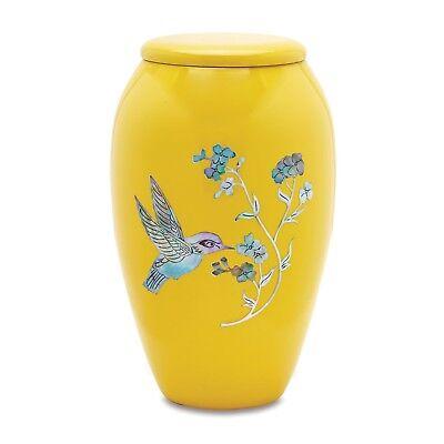 Yellow  Hummingbird Adult Cremation Urn