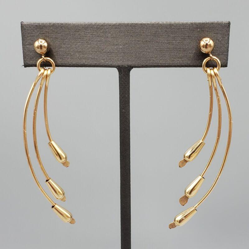 Vintage 14k GF Drop Paddle Tassle Dangle Post Earrings