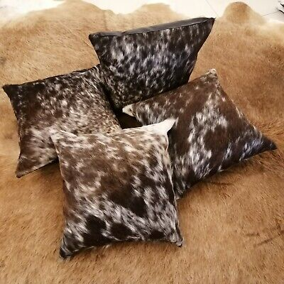 Cow Print Pattern - Cowhide Cushion Covers Tricolor 16x16 set of 4 Natural Cow Print Leather pattern