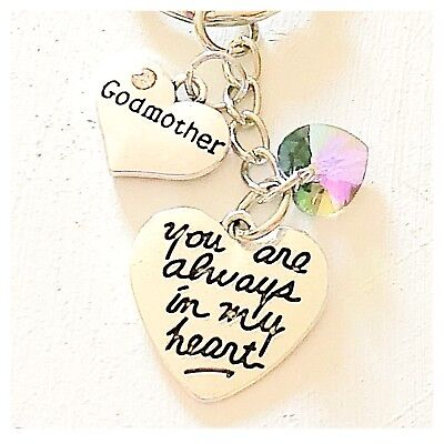(Godmother You Are Always In My Heart Keychain Gift Accessories Swarovski Charm)