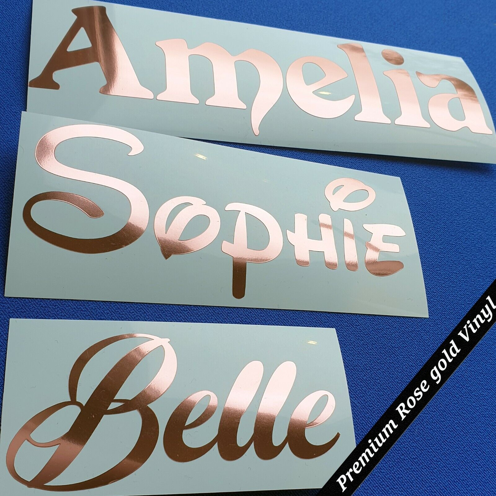 Personalised metallic chrome vinyl name stickers Bottle Lunch Box Labels 4