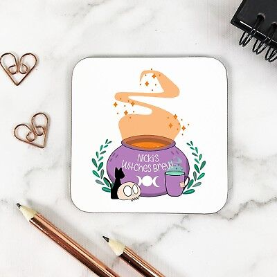 Personalised Witches Brew Halloween Glossy Wooden Drinks Coaster Table Mat