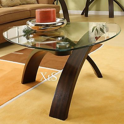 Unique Coffee Table Living Room Cocktail Furniture Glass Top Craftsman Modern  for sale  Bear