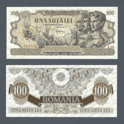 ROMANIA 100 Lei 1947, National Bank, P-67a Last Date, Revaluated Type, Orig. UNC