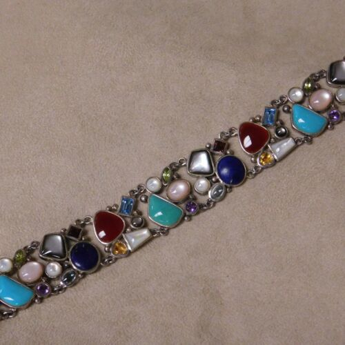 Multi Stone Sterling Silver Link Bracelet from Thailand
