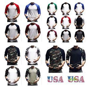 3-4-Sleeve-Plain-T-Shirt-Lot-Baseball-Tee-Raglan-Jersey-Sports-Mens-Tee-S-3X
