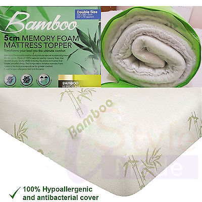 Single Mattress Topper (Quality Bamboo Memory Foam Mattress Topper Size Available Single Double King)