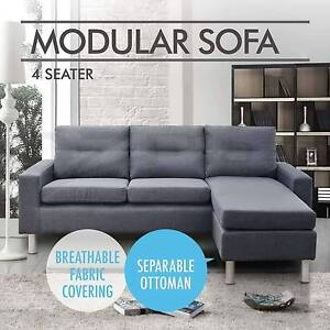 Linen Fabric Grey Sofa Couch Outdoor Lounges Futon Modular Bed Sydney City Inner Sydney Preview