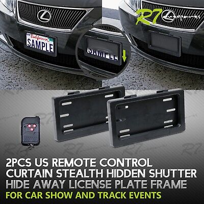 FOR DODGE! 2X CAR POWERED REMOTE CURTAIN COVER HIDDEN AWAY LICENSE FRAME PLATE