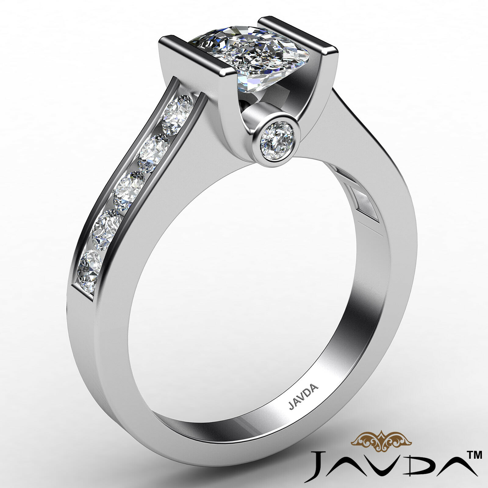Bezel Cushion Diamond Engagement Women's Ring GIA, J Color SI1 clarity 1.53 ctw. 3