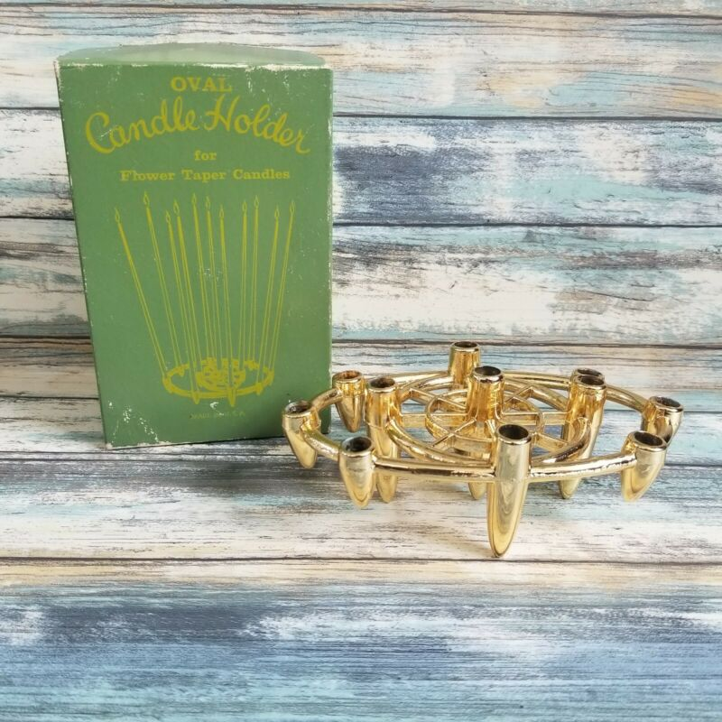 VIntage Gold Metal Candle Taper Holder Colonial Candle Co Hyannis In Box