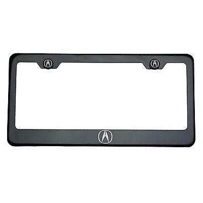 Black Chrome Acura Logo Laser Engraved T304 Stainless Steel License Plate Frame
