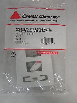 NEW FACTORY SEALED THE SIEMON COMPANY MX-FP-S-04-02 MAX FACEPLATE SINGLE GANG