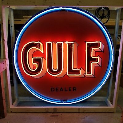 Old Gulf Dealer Porcelain Sign with Animated Neon
