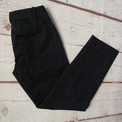 J. CREW Womens Black Cafe Capri Pants Size 0 Stretch Lightweight Flat Front EUC