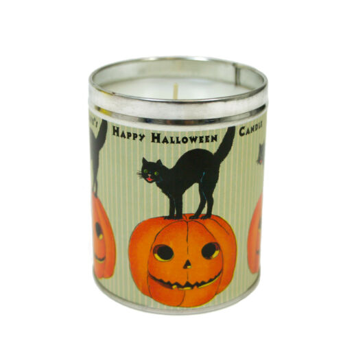 "4"" Aunt Sadies Black Cat JOL Happy Halloween Tin Can Retro Vntg Halloween Candle"