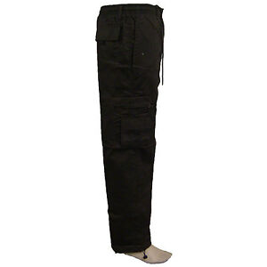 New Mens Casual Elasticated Summer Trousers Cargo Combat Lightweight Pant Cotton