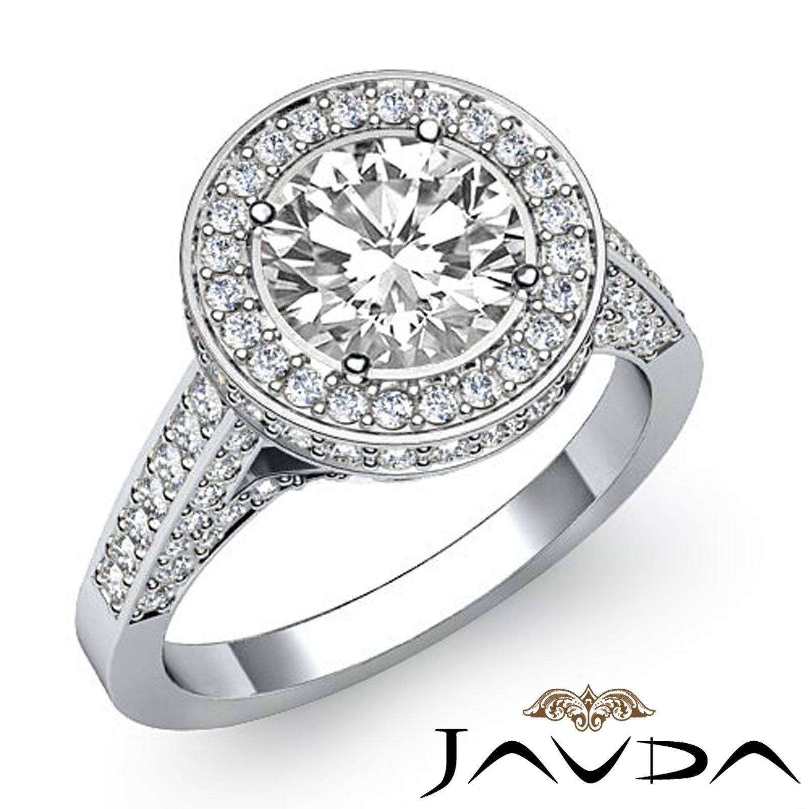 Floral Motif Circa Halo Round Diamond Engagement Ring GIA Certified I VS2 2.8 Ct