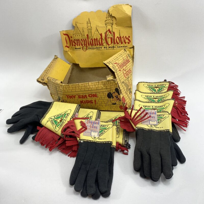 Box Of 8 Pairs Of Kid Gloves 1950s Walt Disney  Spin & Marty Triple R Ranch TV