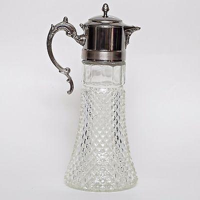 "Leonard Silver Plated Glass Claret Bottle Pitcher 14"" tall 1983"
