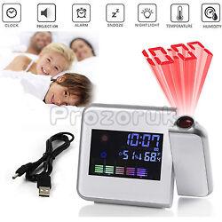 LCD Digital Snooze Time Alarm Clock Projector WeatherStation Calendar Projection